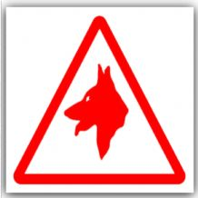 1 x Guard Dogs Logo Design-Red on White,External Self Adhesive Warning Stickers-Security Signs